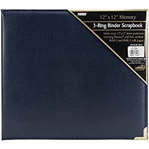 Pioneer Photo 12-by-12-Inch Sewn Oxford Cover Scrapbook Album, Navy Blue