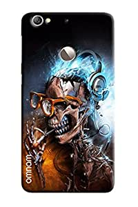 Omnam Skelton Head Laughing And Enjoying Music Printed Designer Back Cover Case For LeTv Le 1s