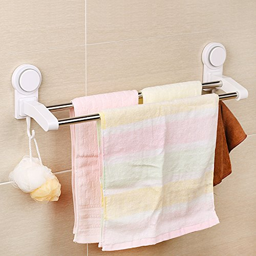 assis multifunctional suction cup towel bars 2 tie stainless steel double towel ebay. Black Bedroom Furniture Sets. Home Design Ideas
