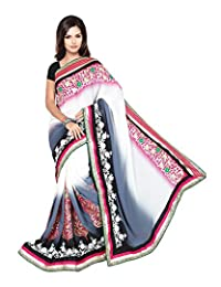 Bano Tradelink Women's Georgette Saree (White)