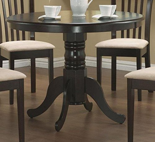 Coaster Pedestal Round Dining Table Cappuccino Finish (Round Dining Table Set For 4 compare prices)