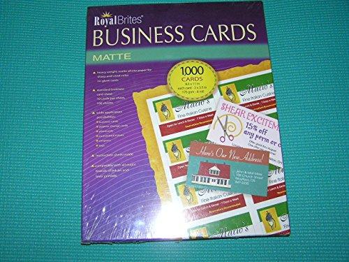 royal brites business cards inkjet white 2 pack 1 000 cards each box. Black Bedroom Furniture Sets. Home Design Ideas
