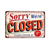 NEWNESS WORLD Sorry We're Closed 3D Embossed Retro Metal Tin Sign Metal Hanging Sing Wall Decoration Bar Pub Restaurant Coffee Shop Living Room (20 by 30 cm) (Color: Multicolor, Tamaño: Medium)