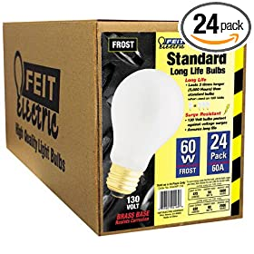  Feit Electric 60A/MP-130 60-Watt A19 Household Bulb, Frosted, 24 Pack