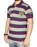 The Desi Attire Collar T shirt For Men (Polo Tshirt _ Stripes _ Pique Cotton Fabric _ Matty_ ) (Purple, Medium)