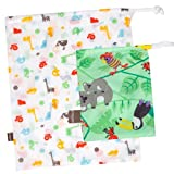 "Kushies ""On The Go"" Wet Bag with Pacifier Pouch, Neutral Print"