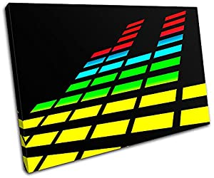 Bold Bloc Design - Graphic Equalizer DJ Club - 120x80cm Canvas Art Print Box Framed Picture Wall Hanging - Hand Made In The Uk - Framed And Ready To Hang