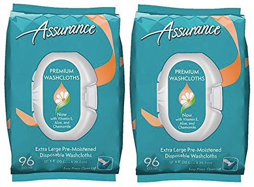 assurance premium extra large pre moistened disposable washcloths easy press open lid 96ct 2. Black Bedroom Furniture Sets. Home Design Ideas