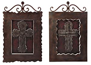 """Set of 2 Old World Cross Hanging Wall Art Plaques 28"""""""