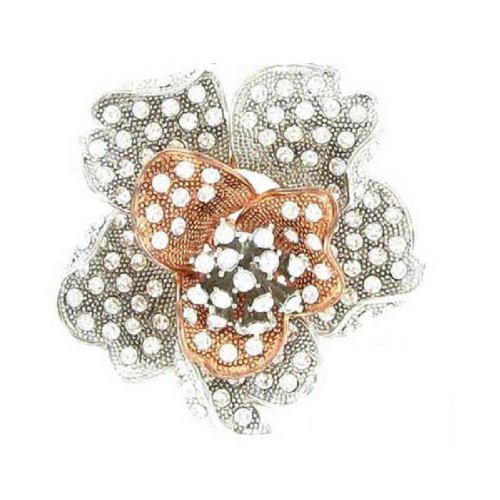 Fashion Trendy Flower Brooch Silver&Peach #012443