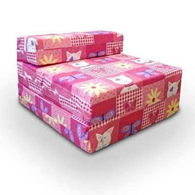 Childrens Single Fold Out Z Bed Chair Kitty Patchwork