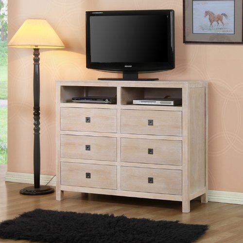 buy low price powell cassidy washed teak 6 drawer tv stand dresser 504 275. Black Bedroom Furniture Sets. Home Design Ideas