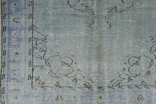 6.3 X 10 Feet Light Blue Turquoise Color Overdyed Handmade Vintage Turkish Rug