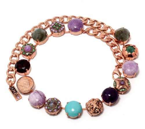 Collar Necklace from 'Spring Vibration' Collection by Israeli Amaro Jewelry Studio, Crafted with Cape Amethyst, Purple Jadeite, Variscite, Labradorite, Swarovski Crystals; 24K Rose Gold Plated