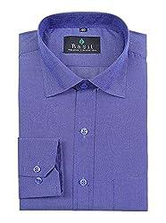 Basil Men's Cotton Blend Formal Shirt (BA380PFF55FSF-42, Blue, 42)
