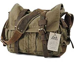 SERBAGS Military Canvas Shoulder Messenger Bag with Leather Straps - Larger Version