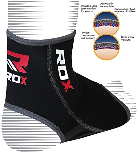 Authentic RDX Neoprene Ankle Foot Brace Support Pad Guard Sports Shin Protector Feet MMA B