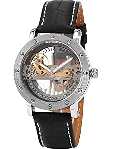 AMPM24 Mens Luxury Steampunk Analog Black Leather Automatic Mechanical Skeleton Watch PMW150