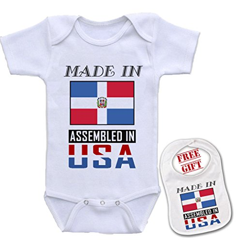 Made in Dominican Republic - Cute Custom boutique Baby bodysuit onesie & matching bib (Made In Dominican Republic compare prices)
