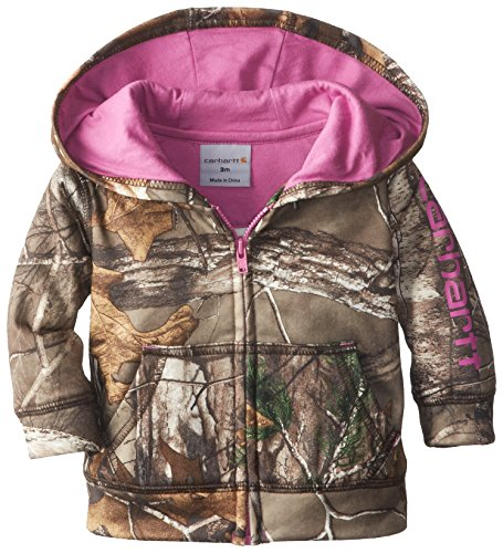 Carhartt Baby-Girls Infant Camo Fleece Zip Front Sweatshirt, Realtree Xtra, 12 Months front-829980