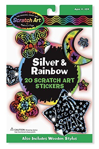 Melissa & Doug 3292 Scratch Art Stickers, Silver/Rainbow - 1