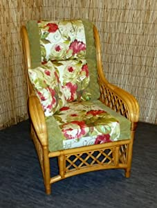 Replacement Cushion Covers for Cane Wicker and Rattan Conservatory and Garden Furniture - Green Chenille & Red Rose by Zippy UK