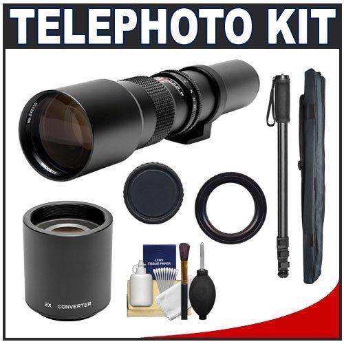 Phoenix 500Mm Telephoto Lens With 2X Teleconverter (=1000Mm) + 67-Inch Monopod Kit For Canon Eos 60D, 7D, 5D Mark Ii Iii, Rebel T3, T3I, T4I Digital Slr Cameras