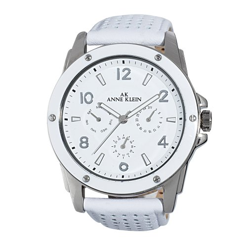 AK Anne Klein Women's 109657WTWT Silver-Tone White Plastic Bezel and White Leather Strap Watch