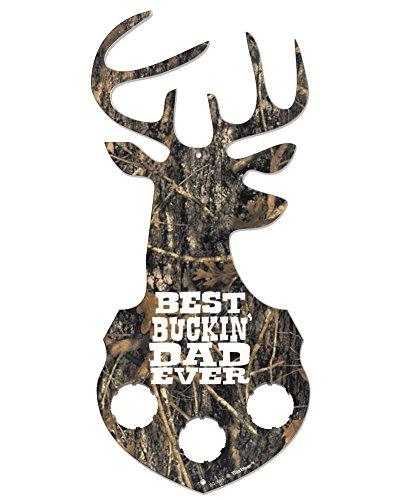 "Fathers Day Gift Best Buckin Dad Camo Deer Antlers Sign 5.5""x12"" PVC Bottle Cap Holder Bottle Cap Sign"