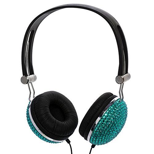 Teal Aqua Crystal Rhinestone Bling Dj Over-Ear Headphones