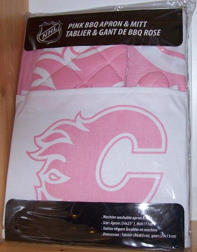 Calgary Flames Pink Apron with Oven/Barbeque Mitt