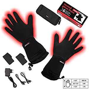 Battery Heated Universal Touchscreen Glove Liners, up to 6 hours of warmth at one recharge - improved 2014 model with free battery extention cable and free storage case - Glovii by Glovii