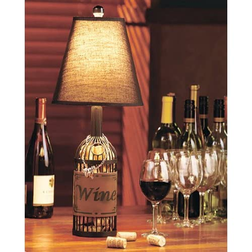 Wine cork tabletop lamp with shade antique metal finish for Wine cork lampshade