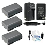 UltraPro 3-Pack NB-2LH High-Capacity Replacement Batteries with Rapid Travel Charger for Canon EOS Digital Rebel XT, XTi, 350D, 400D Digital Cameras - UltraPro BONUS INCLUDED: Camera Cleaning Kit, Camera Screen Protector, Mini Travel Tripod