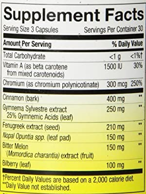 Nature's Way Blood Sugar with Gymnema, 90 Capsules (Pack of 3)