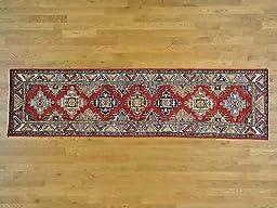 2\'6x9\'8 Red Tribal & Geometric Design Runner Hand Knotted Super Kazak Rug G25709