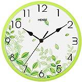 Hense Clocks(ハンセ)壁掛け時計 おしゃれ シンプル 薄型 アナログ時計 消音 連続秒針 HW87-01 緑色葉緑色