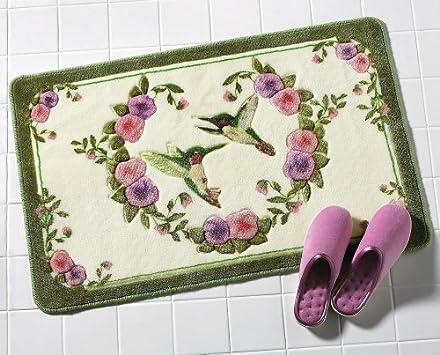Elegant Area Rug Sets Hummingbird Floral Bath Accent Rug
