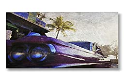 Neron Art - Hand painted Cityscape Oil Painting on Rolled Canvas for Living Room Wall Decor - Welcome To Miami 48X24 inch