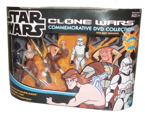 Cartoon Network Year 2005 Star Wars Clone Wars Commemorative DVD Collection Animated Series Exclusive 3 Pack 4 Inch Tall Action Figure Set - Anakin Skywalker with Blue Lightsaber, Saesee Tin with Yellow Light Saber and Clone Trooper with Blaster Rifle (DVD Sold Separately)
