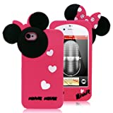 Disney Minnie Mouse Hide and Seek Silicone Case for iPhone 4S/4-Hot Pink