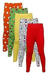Little Stars Girls' Cotton Regular Fit Leggings- Pack of 5 (Po5L_109_28, Multi-Colour, 7-8 Years)