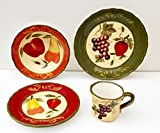 Tuscany Garden Colorful Hand Painted Mixed Fruit 16pc Dinnerware Set, 89216 by ACK