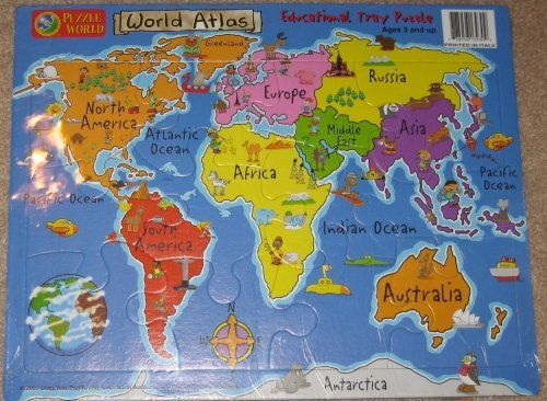 Puzzle World World Atlas Educational Tray Puzzle