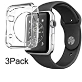 For Apple Watch Case 38mm CaseHQ Hard Soft TPU Transparent Full Body Screen Protector 0.3mm Thin Case Apple Watch Cover For Apple Watch / Watch Sport / Watch 2015(38mm) Crystal Clear (38mm 1Pack) (Color: watch-38-clear-1pack caseHQ, Tamaño: glass replacement coverage protectors shield)