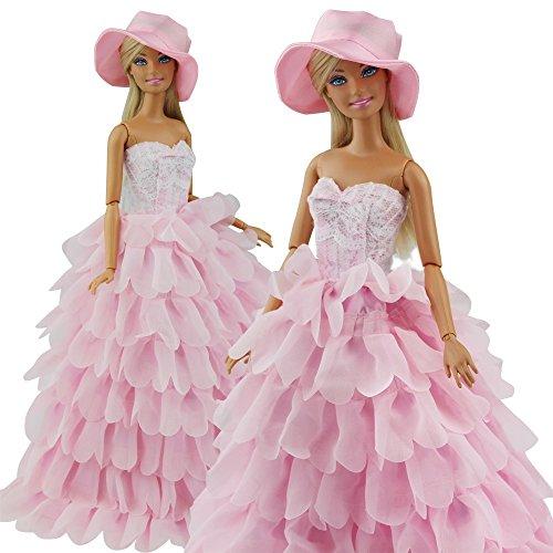abendkleid-prinzessin-kleidung-dress-kleider-mit-hut-fur-barbie-puppen