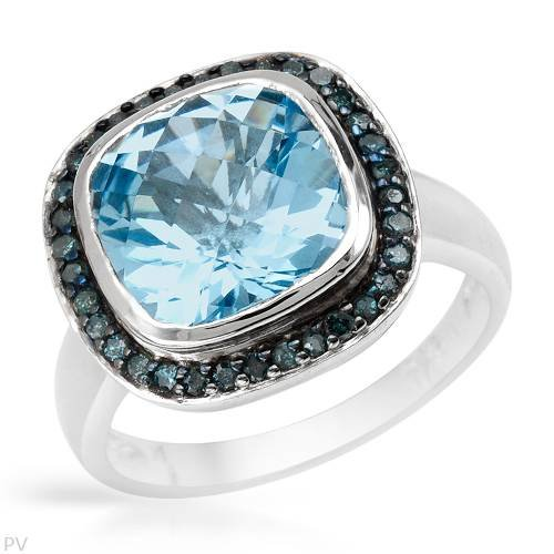 Ring With 5.22ctw Precious Stones - Genuine Diamonds and Topaz Made in 925 Sterling silver. Total item weight 6.0g (Size 7)