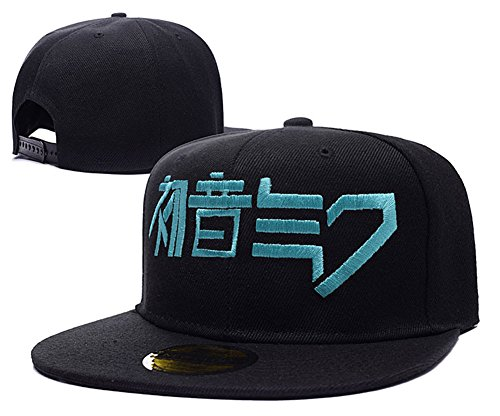 HAIHONG Hatsune Miku Logo Adjustable Snapback Embroidery Hats Caps - Black (Robert Oster compare prices)