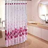 S-ZONE Pink Peach Blossom Pattern, Mildew Proof Polyester Fabric Shower Curtain 72x72 Inch