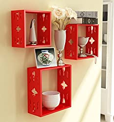 Red Wooden Nested Wall Shelves Carving Work Set Of Three /Display Rack Shelf